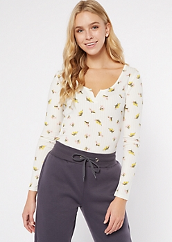 Ivory Ditsy Floral Print Notched V Ribbed Top