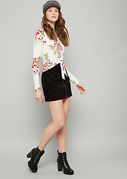 White Floral Print Long Sleeve Tie Front Tee