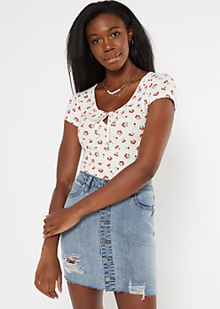 Cherry Print Super Soft Ribbed Keyhole Cutout Tee