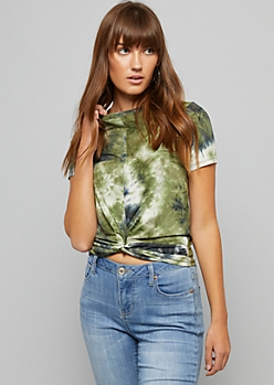 Olive Tie Dye Knotted Front Super Soft Tee