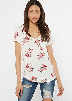 White Floral Print V Neck Favorite Tee