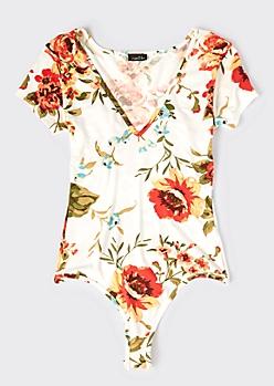 Ivory Floral Print V Neck Soft Bodysuit