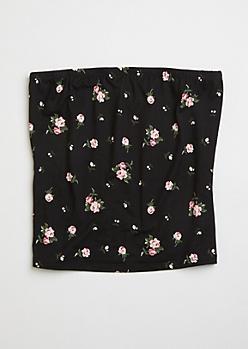 Black Ditsy Floral Print Soft Tube Top