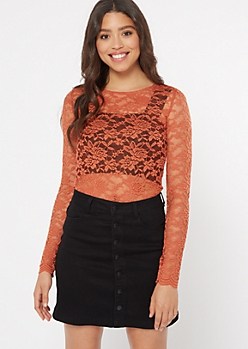 Burnt Orange Lace Long Sleeve Bodysuit