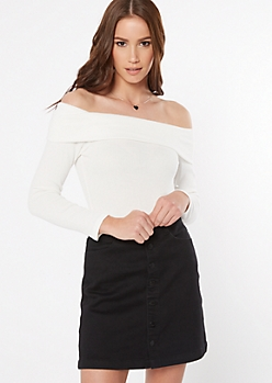 Ivory Off The Shoulder Ribbed Knit Bodysuit
