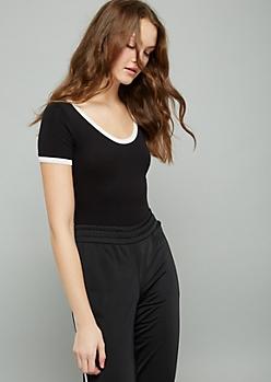 Black Short Sleeve Ringer Bodysuit