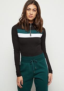 Dark Green Colorblock Super Soft Half Zip Bodysuit