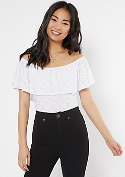 White Eyelet Flounce Off The Shoulder Bodysuit