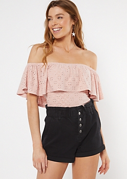 Pink Crochet Flounce Off The Shoulder Bodysuit