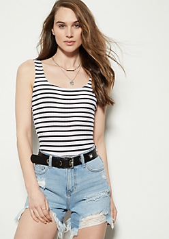 Black Striped Ribbed Knit Square Neck Bodysuit