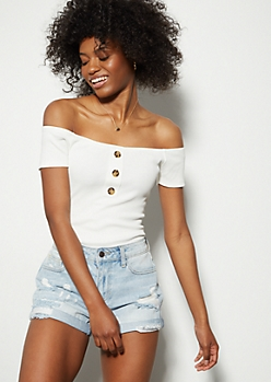 Ivory Ribbed Knit Off The Shoulder Bodysuit