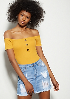 Mustard Ribbed Knit Off The Shoulder Bodysuit