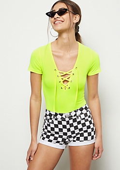 Neon Yellow Super Soft Lace Up Bodysuit