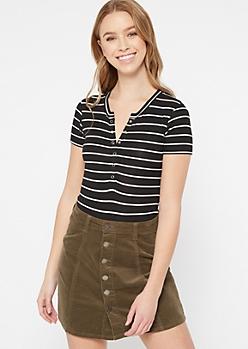 Black Striped Ribbed Knit Button Down Bodysuit