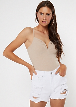 Taupe Plunging V-Wire Bodysuit