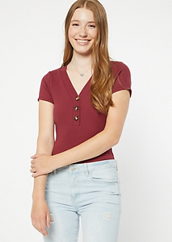 Burgundy V Neck Ribbed Button Front Bodysuit
