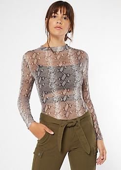Snakeskin Print Mesh Bodysuit