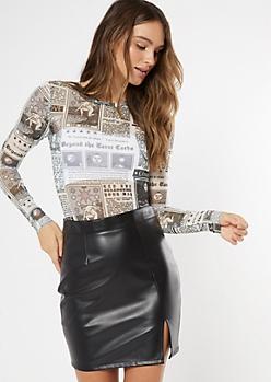 Black Tarot Card Print Mesh Bodysuit