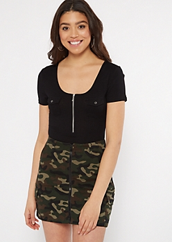 Black Ribbed Knit Chest Pocket Bodysuit