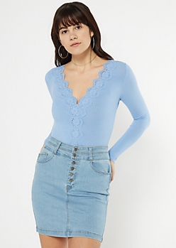 Blue Crochet V Neck Bodysuit