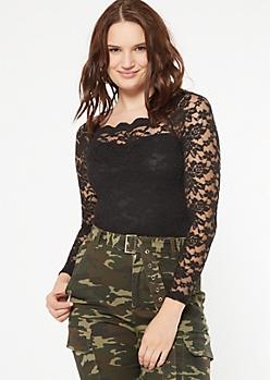 Black Lace Off The Shoulder Bodysuit