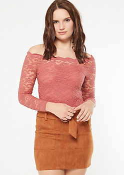 Pink Lace Off The Shoulder Bodysuit