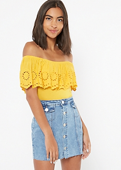 Mustard Off The Shoulder Crochet Bodysuit