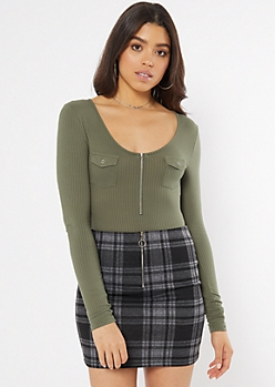 Olive Front Pocket Zip Bodysuit