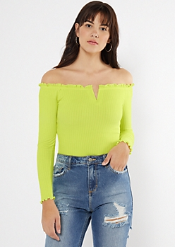 Green Off The Shoulder Notch Neck Bodysuit