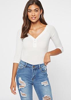 White Off The Shoulder Ribbed Knit Bodysuit
