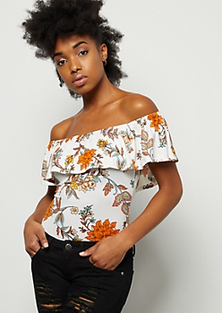 f394890952 Ivory Floral Print Super Soft Off The Shoulder Flounce Bodysuit