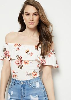 Cream Floral Print Super Soft Off The Shoulder Flounce Bodysuit