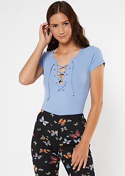 Blue Lace Up Neck Short Sleeve Bodysuit