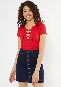 Red Lace Up Neck Short Sleeve Bodysuit