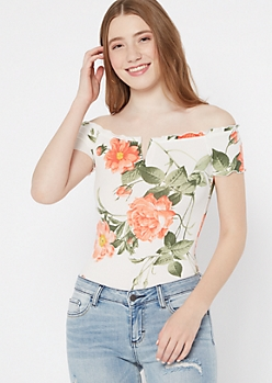 Ivory Tropical Floral Print Structured V Neck Bodysuit