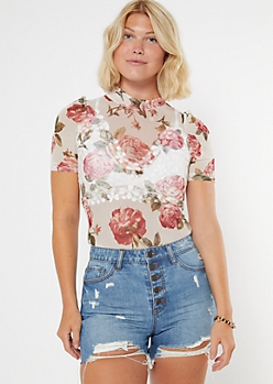 White Rose Print Mock Neck Mesh Bodysuit