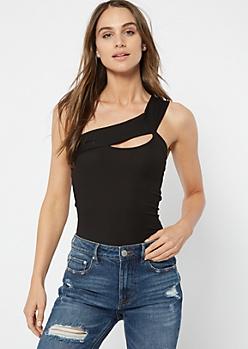 Black Cutout Ribbed Knit One Shoulder Bodysuit
