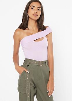 Lavender Cutout Ribbed Knit One Shoulder Bodysuit
