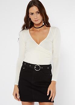 White Surplice V Neck Long Sleeve Bodysuit