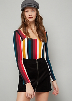 Burgundy Striped Square Neck Long Sleeve Bodysuit