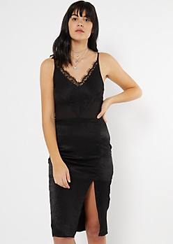 Black Ribbed Knit Eyelash Lace V Neck Bodysuit