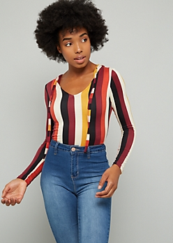 Black Striped Super Soft Hooded Bodysuit