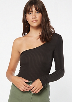 Black Ribbed Knit One Shoulder Bodysuit