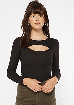 Black Cutout Ribbed Long Sleeve Bodysuit