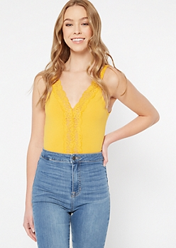 Yellow Lace Trim V Neck Bodysuit