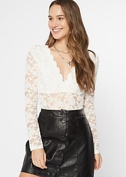 Ivory Scalloped Lace Long Sleeve Bodysuit