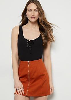 Black Ribbed Knit Lace Up Bodysuit