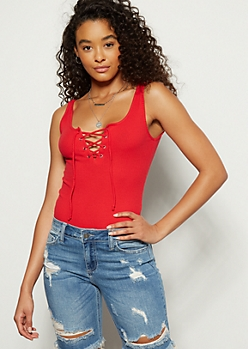 38b0f038da Red Ribbed Knit Lace Up Bodysuit