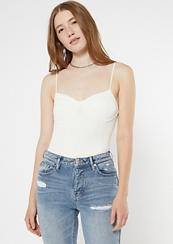 White Velvet Ribbed Cami Bodysuit