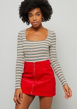 Ivory Striped Ribbed Knit Square Neck Bodysuit